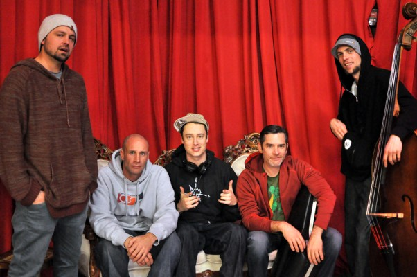 WE Tribe setting up at Branx before playing the Masquerade Ball in Portland