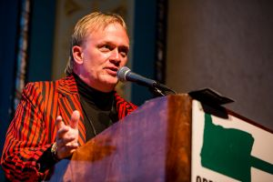 Marc Baker accepting induction into the Oregon Music Hall of Fame, October 10, 2015