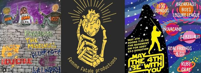 (From L to R) The poster for the first Femme Fatale Productions show, by @kayapapayyaa; Femme Fatale's first logo, by @kill3r.kraft; Event poster, by @staceyfromrussia