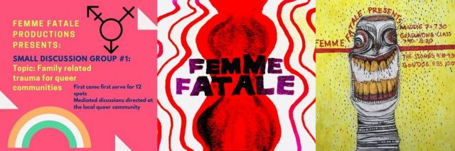 Event poster, Rhuby Noriyuki; Femme Fatale's new logo, by @lonedyke; Event poster, picanteperosabrosa